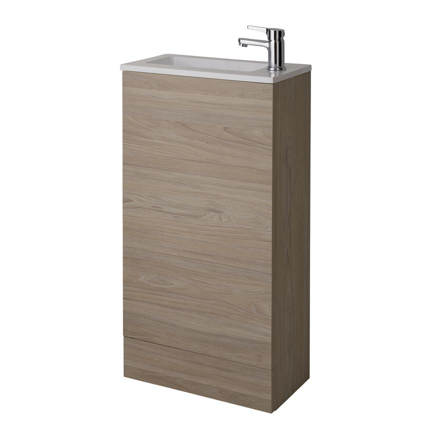 Cloakroom Floor Standing Vanity Unit - Drift Oak