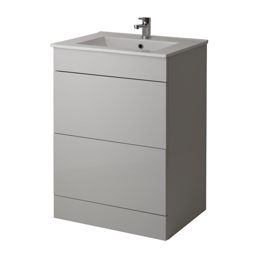 Alderney Floor Standing Vanity Unit 600mm and 800mm - Gloss Dove Grey