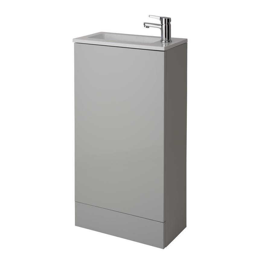 Cloakroom Floor Standing Vanity Unit - Gloss Dove Grey