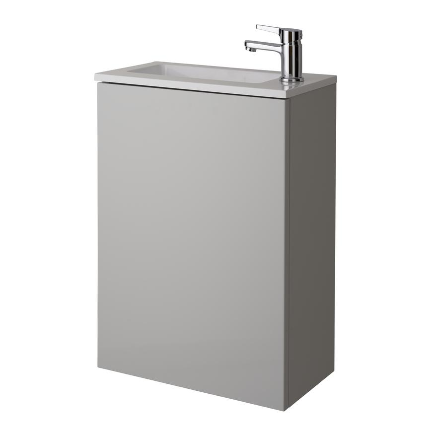 Cloakroom Wall Mounted Vanity Unit - Gloss Dove Grey