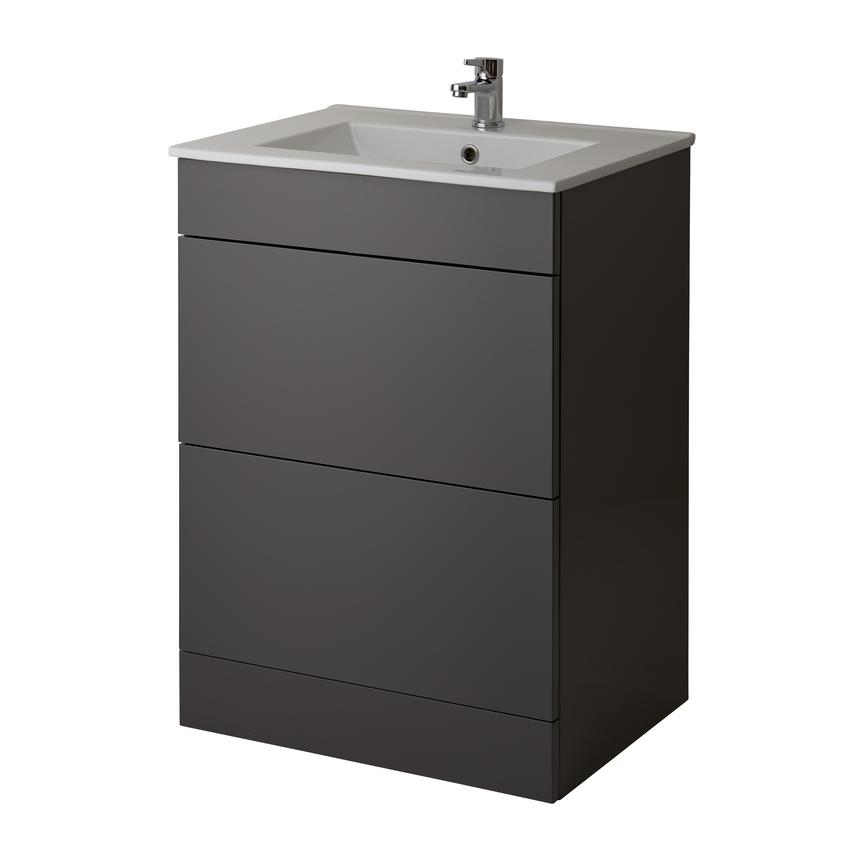 Alderney Floor Standing Vanity Unit 600mm and 800mm - Gloss Graphite