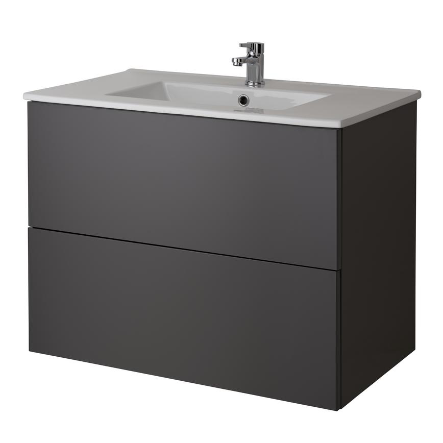 Alderney Wall Mounted Vanity Unit 600mm and 800mm - Gloss Graphite