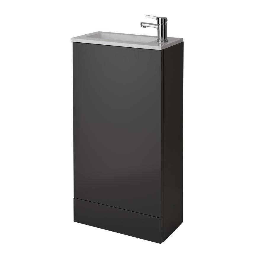 Cloakroom Floor Standing Vanity Unit - Gloss Graphite