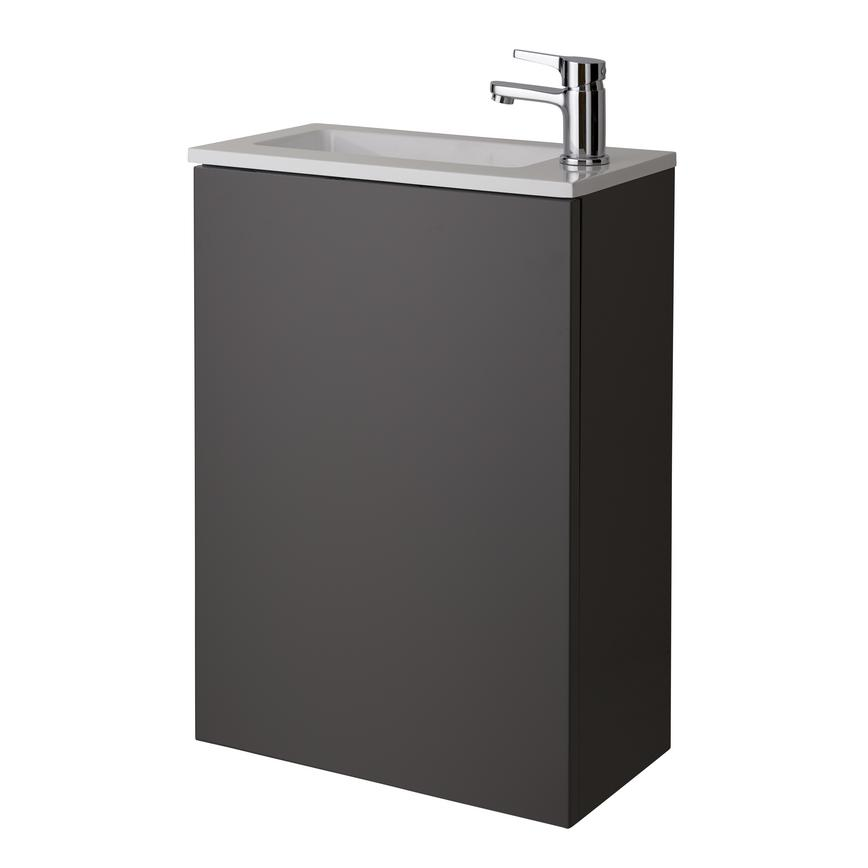 Cloakroom Wall Mounted Vanity Unit - Gloss Graphite