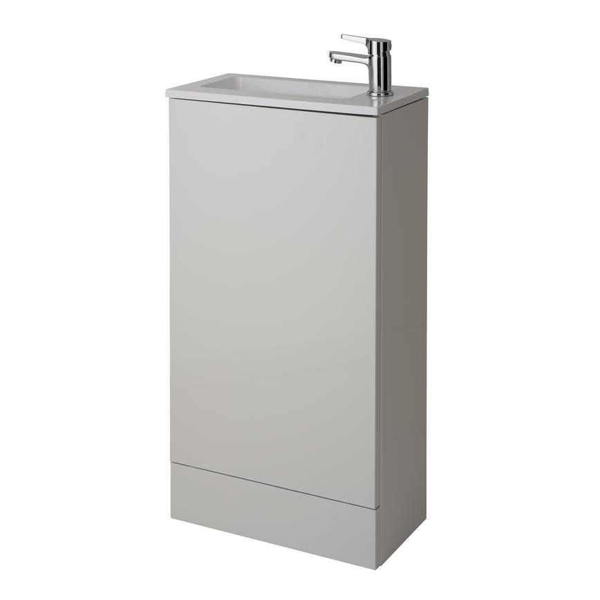 Cloakroom Floor Standing Vanity Unit - Gloss White