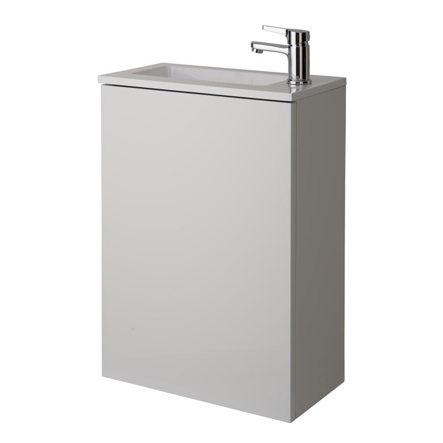 Cloakroom Wall Mounted Vanity Unit - Gloss White