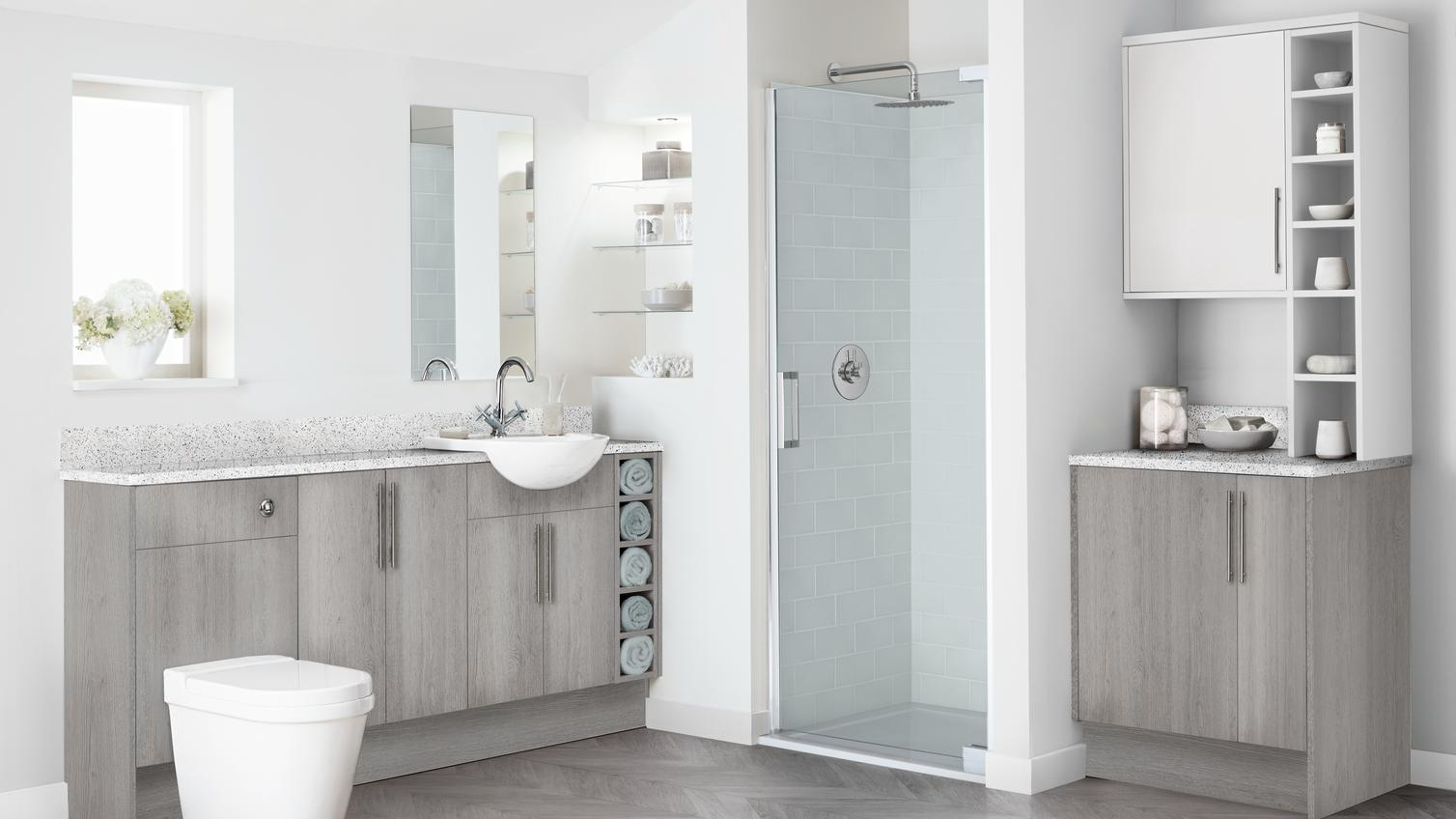 Greenwich Light Grey Oak Bathroom Fitted Bathrooms Howdens