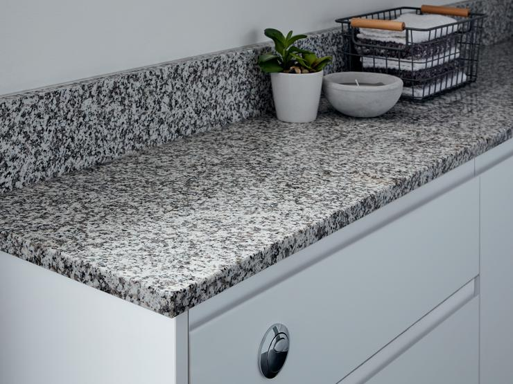 White granite worktop and upstand