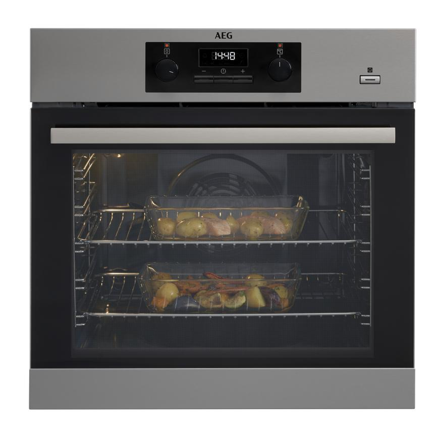 AEG BEK351011M Built In Electric 60cm Stainless Steel Single Oven