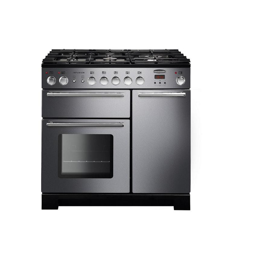 Rangemaster Stainless Steel Infusion 90cm Dual Fuel Range Cooker