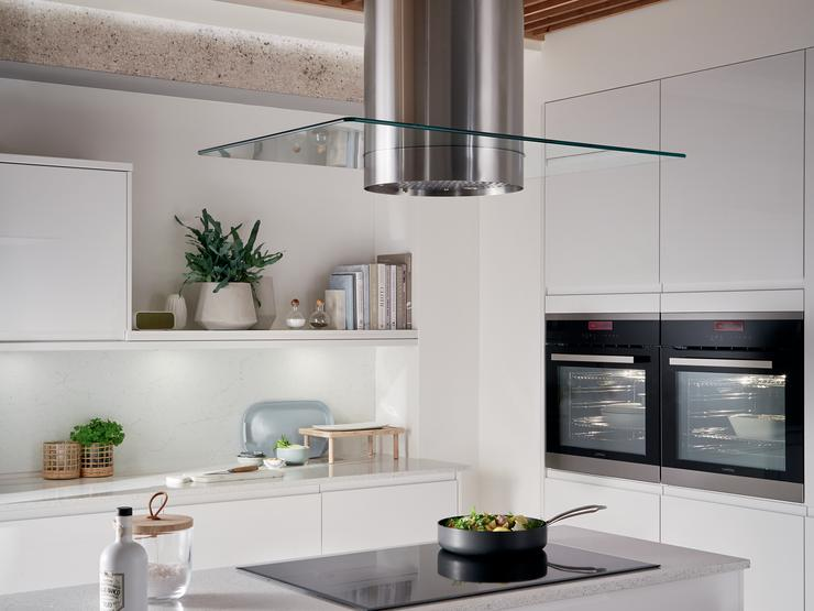Cylinder island extractor with glass insert