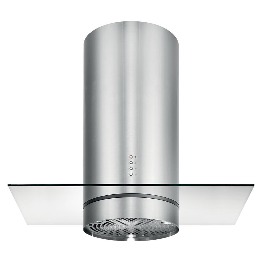 Lamona Stainless Steel Cylinder Island Chimney Extractor 90cm Glass
