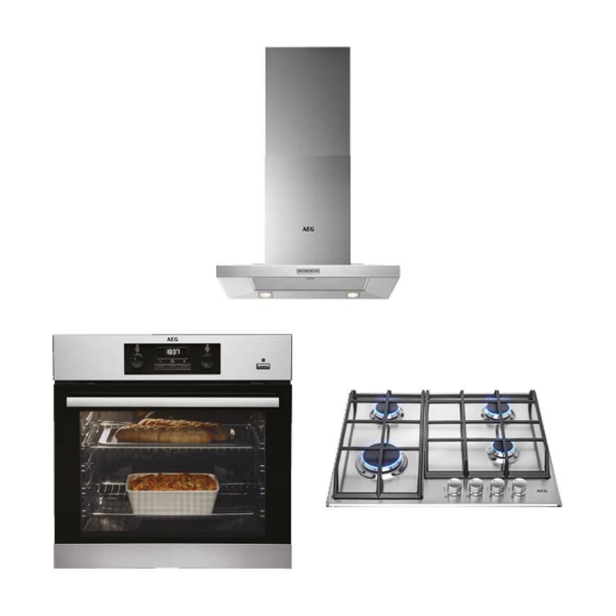 AEG Single Oven, Gas Hob and Chimney Extractor Cooking Package - Stainless Steel