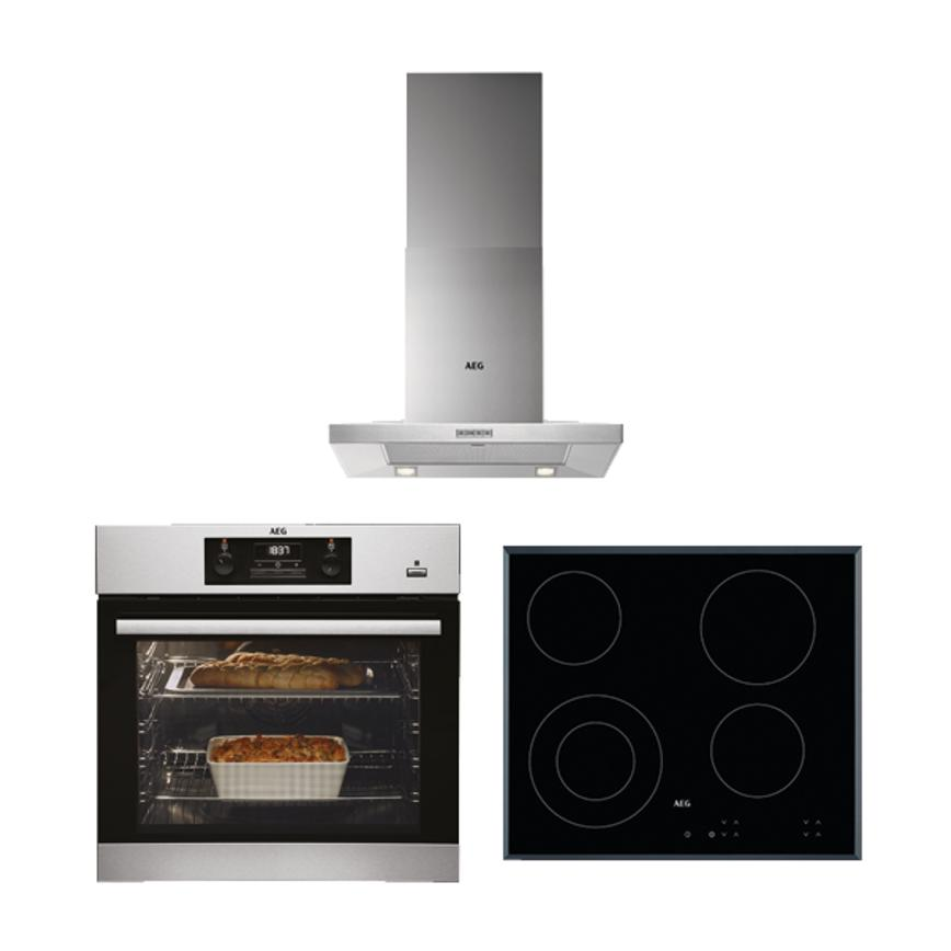 AEG Single Oven, Ceramic Hob and Chimney Extractor Cooking Package
