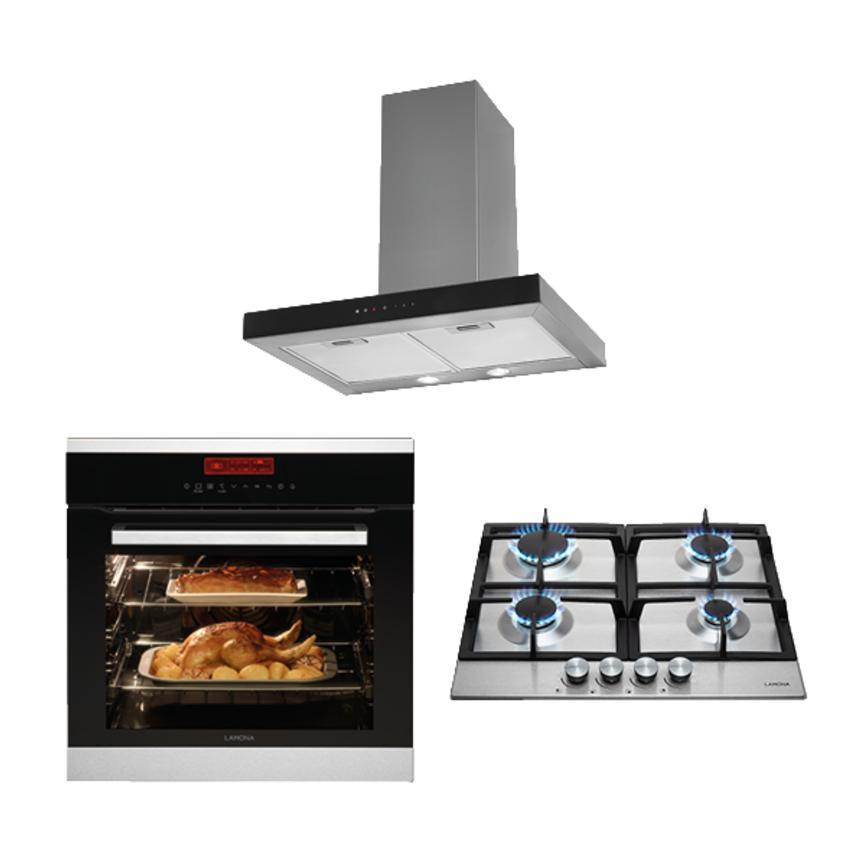 Lamona Pyrolytic Oven, Gas Hob and T-box Extractor Cooking Package