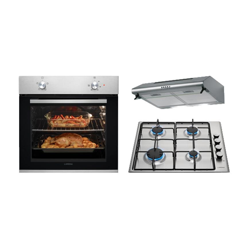 Lamona Stainless Steel Single Oven, Gas Hob and Extractor Cooking Package