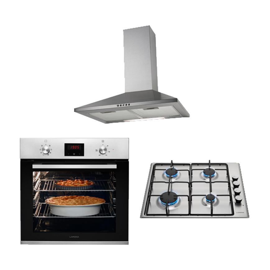 Lamona Stainless Steel Gas Hob and Chimney Extractor Cooking Package