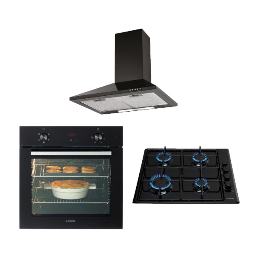 Lamona Black Single Fan Oven, Gas Hob and Standard Chimney Extractor Cooking Package