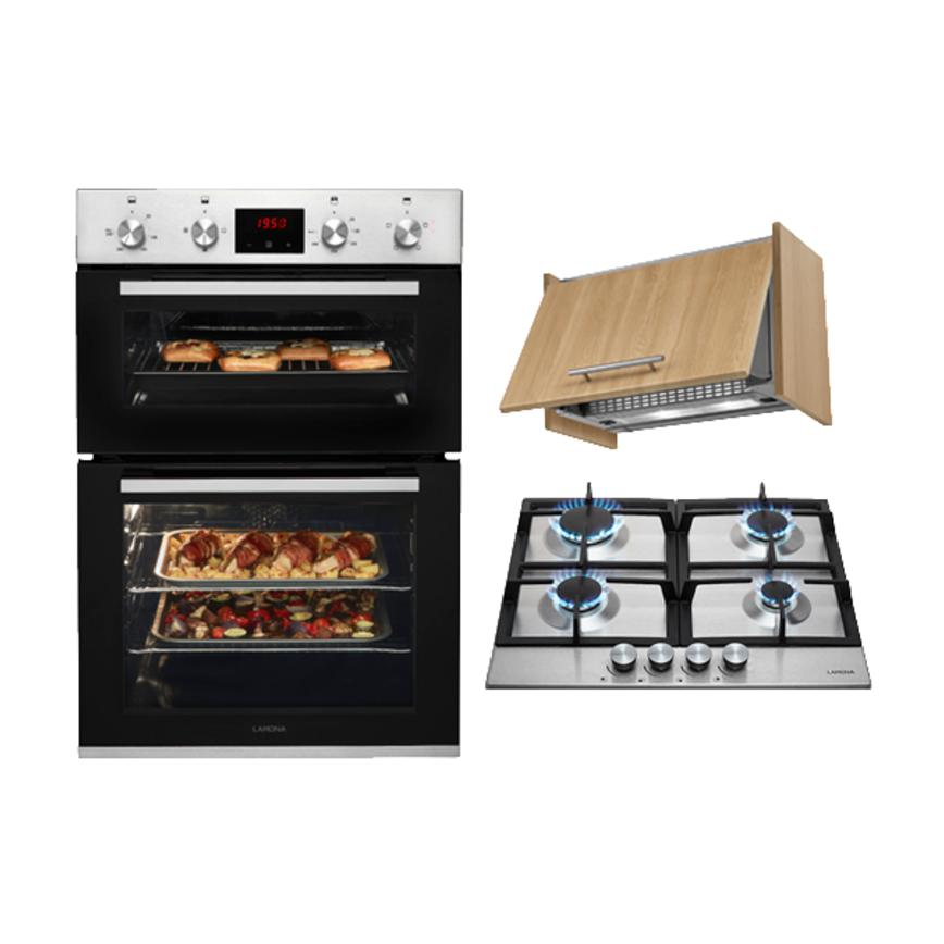 Lamona Double Fan Oven, Gas Hob and Turbo Integrated Extractor Cooking Package