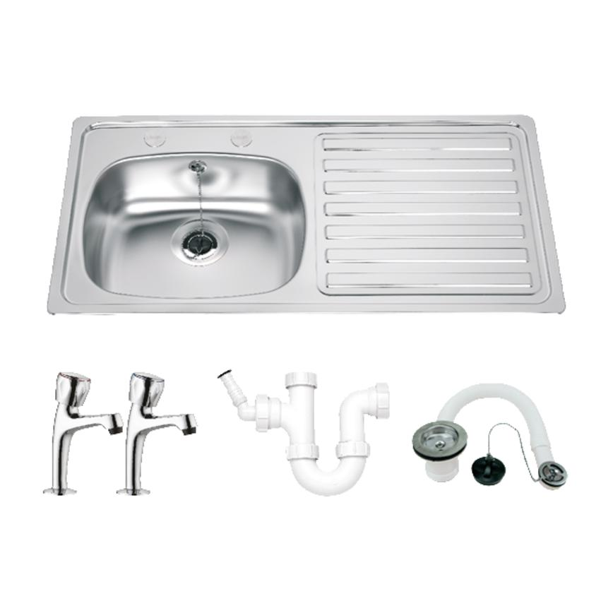 Lamona Single Bowl Right-Hand Drainer Sink (2 Tap Holes) and Lamona Chrome Pillar Taps Package