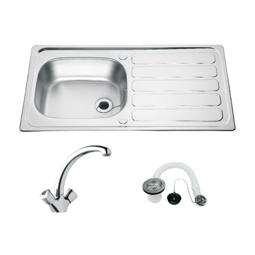 Lamona Drayton Single Bowl Sink and Lamona Chrome Effect Mono Mixer Tap Package