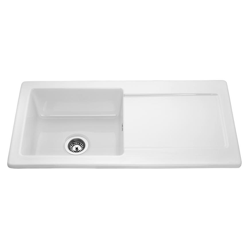Lamona Hallington Single Bowl Inset Ceramic White Kitchen Sink