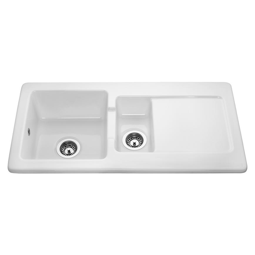 Lamona Hallington 1.5 Bowl Inset Ceramic White Kitchen Sink