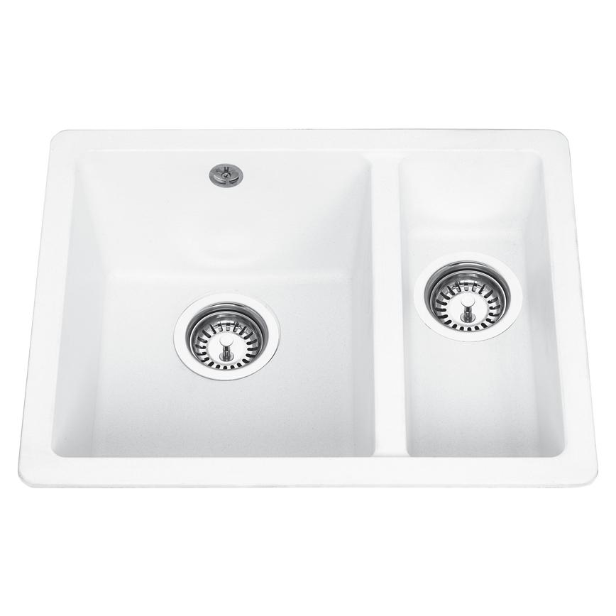 Lamona 1.5 Bowl Granite Composite Right Hand Inset/Undermount White Kitchen Sink