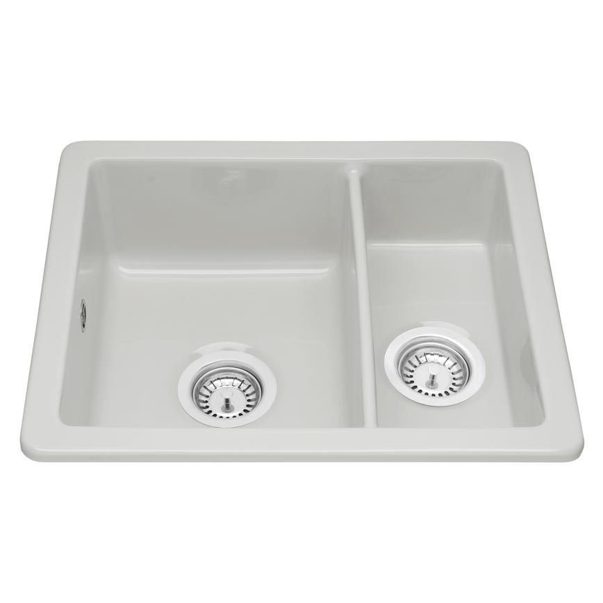 Contemporary ceramic inset 1.5 bowl sink