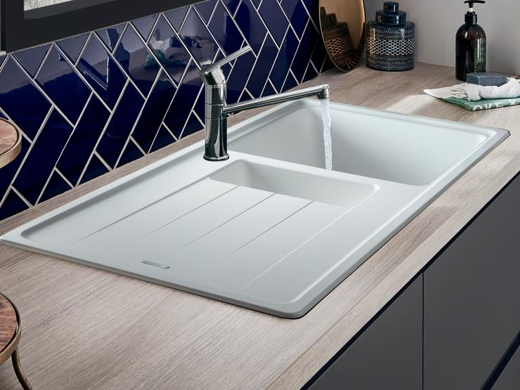 white 1.5 Bowl Granite Composite Sink