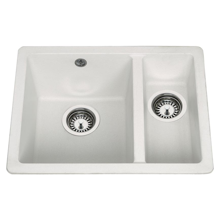 Lamona 1.5 Bowl Inset Composite White Kitchen Sink