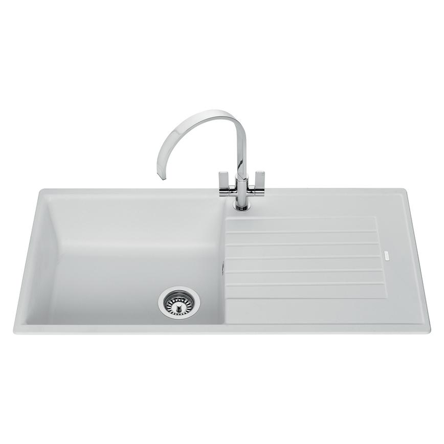 Lamona White granite composite single bowl sink