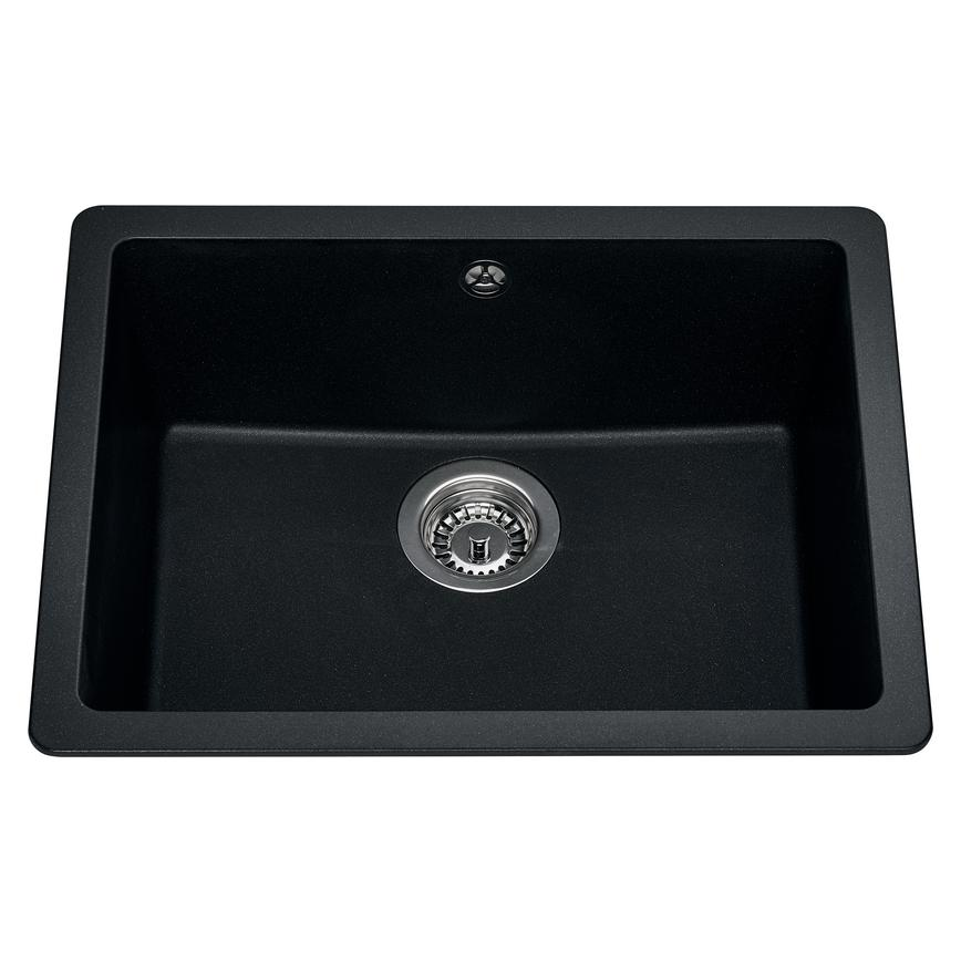 Lamona Single Bowl Inset Composite Black Kitchen Sink