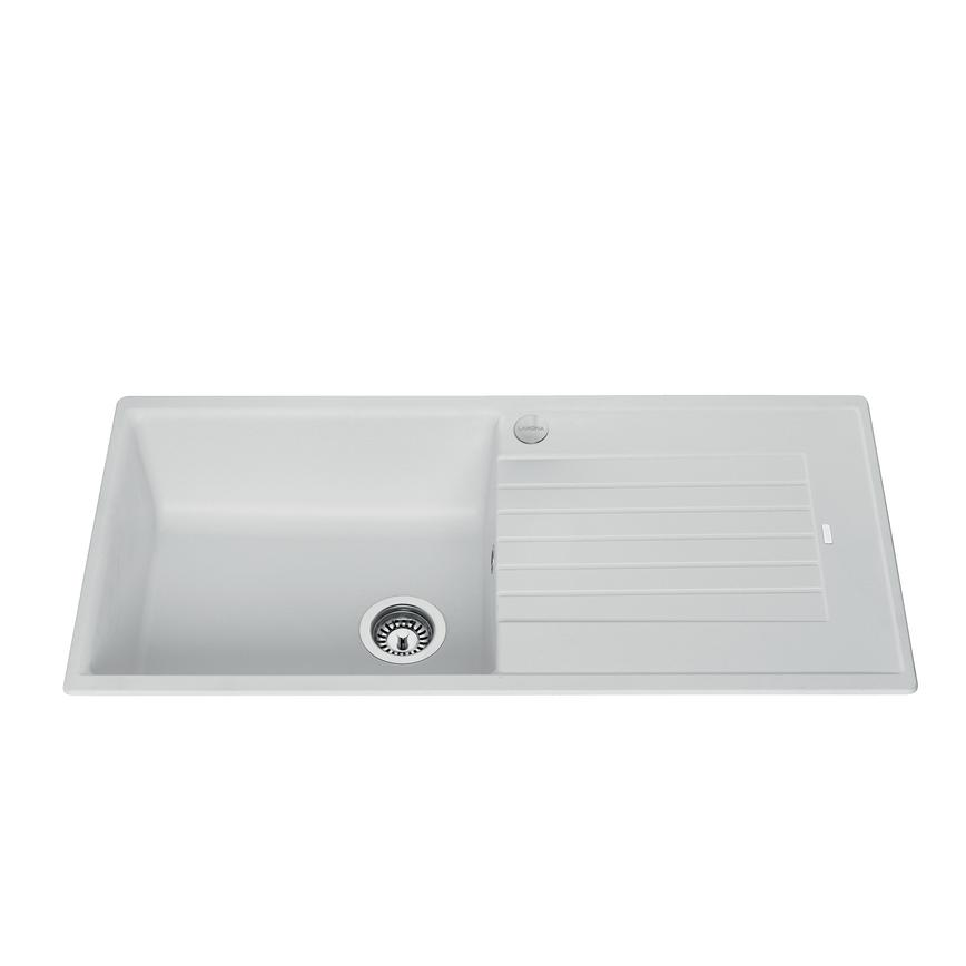 Lamona Single Bowl Inset Composite White Kitchen Sink