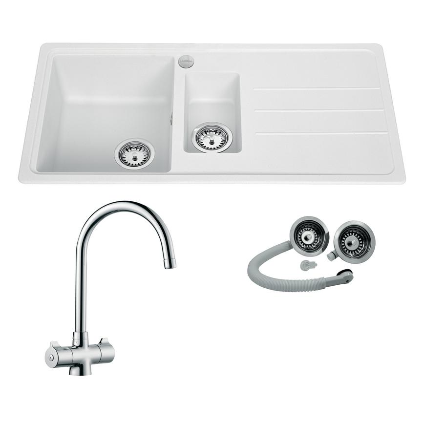 White Standard Composite 1.5 Bowl Sink and Chrome Rhone Tap