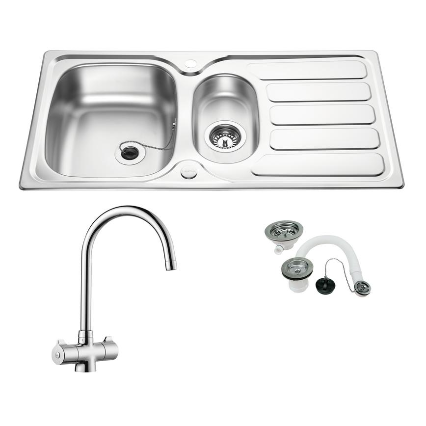 Drayton 1.5 Bowl Sink and Chrome Rhone Tap