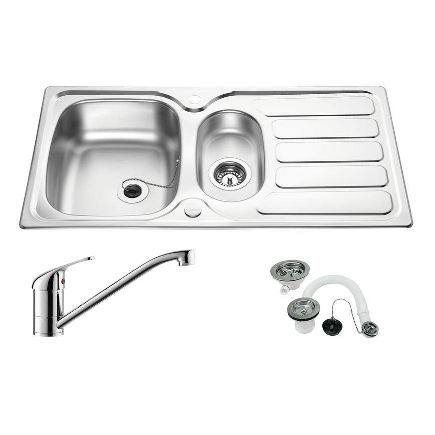 Drayton 1.5 Bowl Sink and Chrome Arno Tap