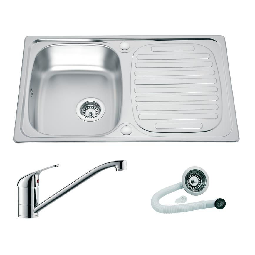 Stainless Steel Compact Single Bowl Sink and Chrome Arno Tap