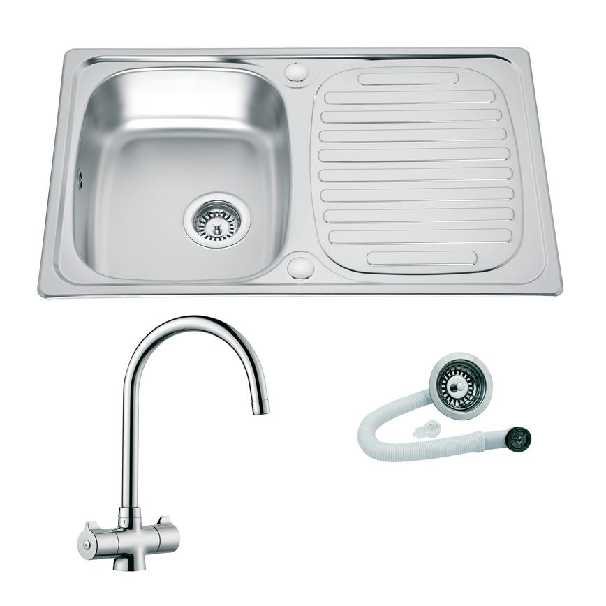 Stainless Steel Compact Single Bowl Sink and Chrome Rhone Tap