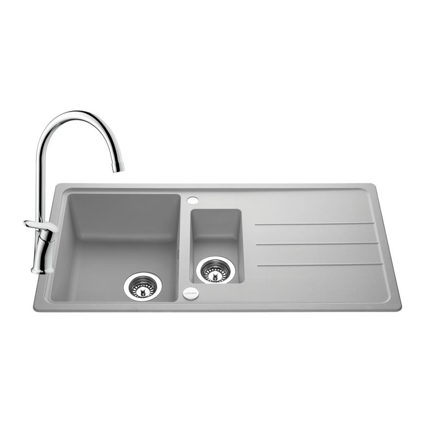 SNT2166 Lamona Granite Composite 1.5 Bowl Sink and Savoca Tap - Grey
