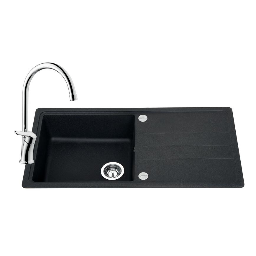 SNT2102 Lamona Granite Composite 1 Bowl Sink and Savoca Tap - Black