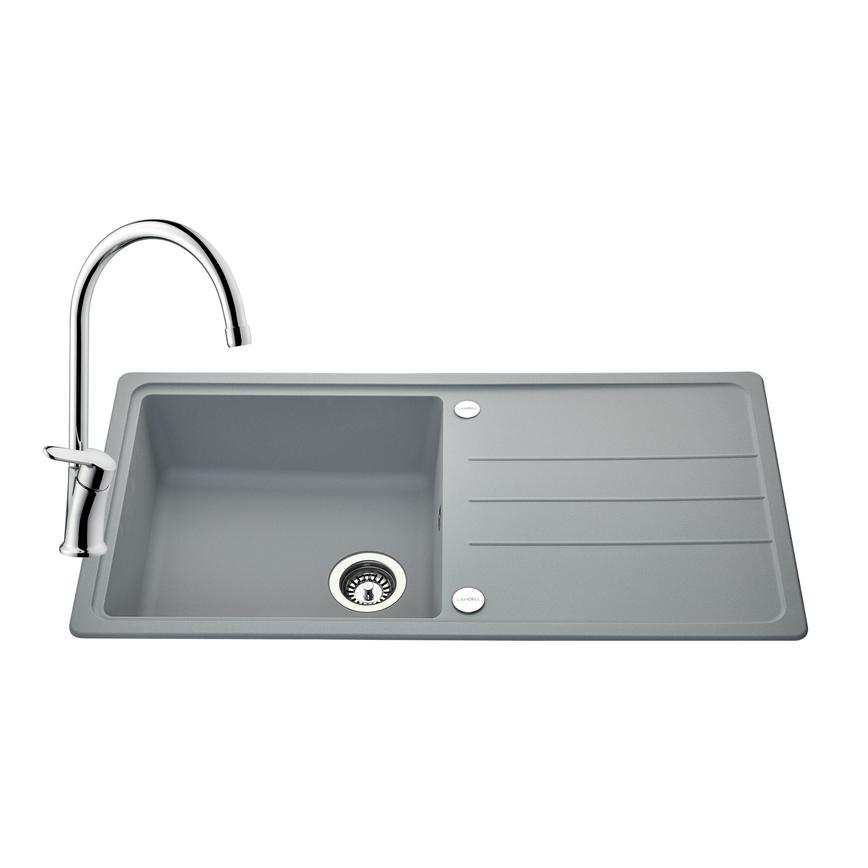 SNT2136 Lamona Granite Composite 1 Bowl Sink and Savoca Tap Pack -Grey