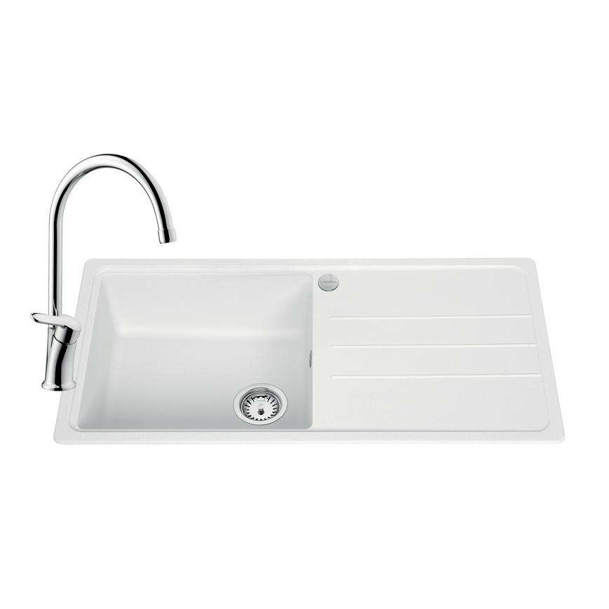 SNT2137 Lamona Granite Composite 1 Bowl Sink and Savoca Tap Pack -White