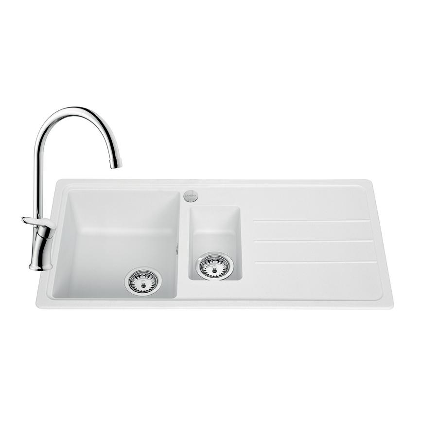 SNT2167 Lamona Granite Composite 1.5 Bowl Sink and Savoca Tap Pack -White
