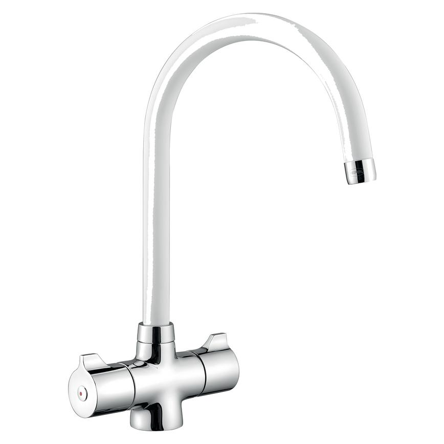Lamona Rhone Brushed White Mono Mixer Tap