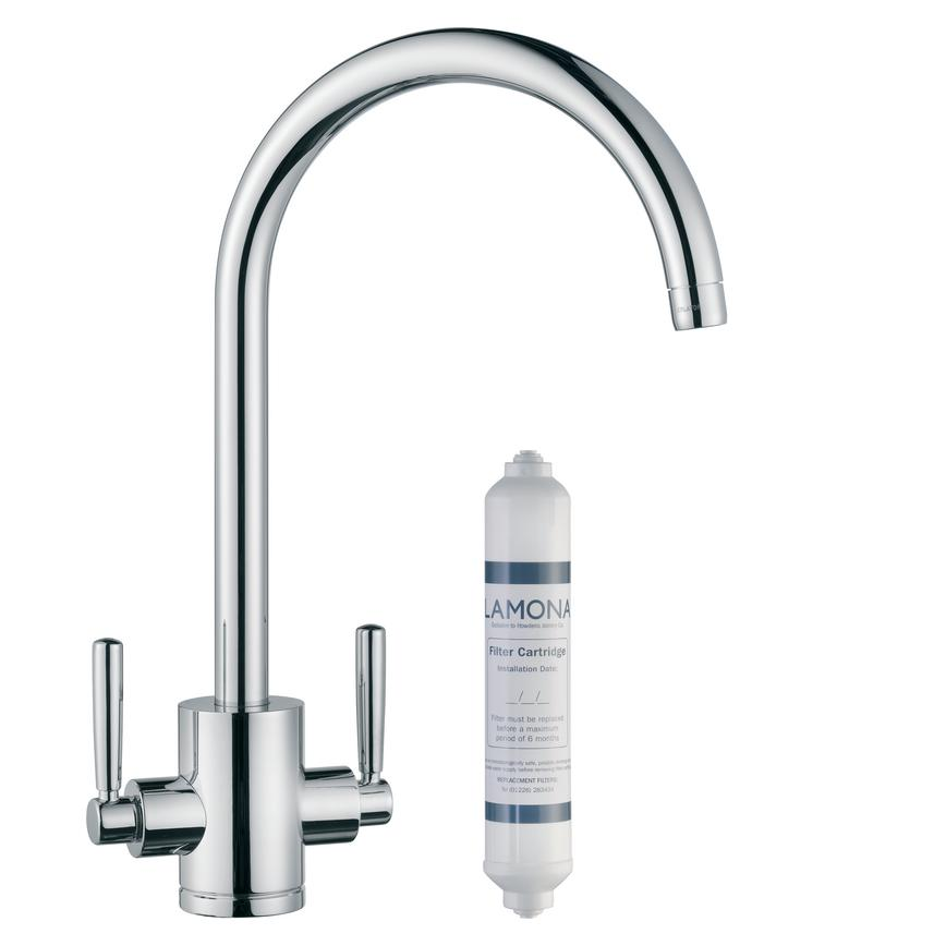 Lamona Chrome Garda Swan Neck Filter Monobloc Tap