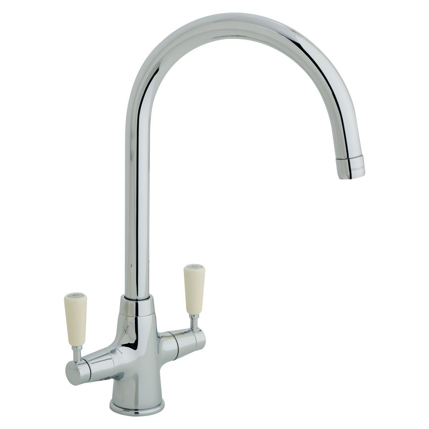 Lamona Chrome and Cream Victorian Swan Neck Monobloc Tap