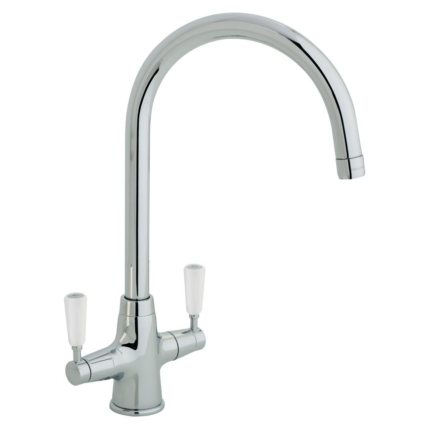 Lamona Victorian White Handle Chrome Mono Mixer Tap