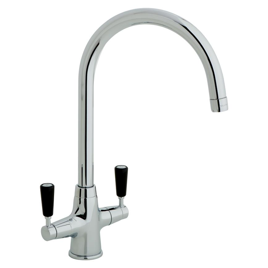 Lamona Chrome and Black Victorian Swan Neck Monobloc Tap