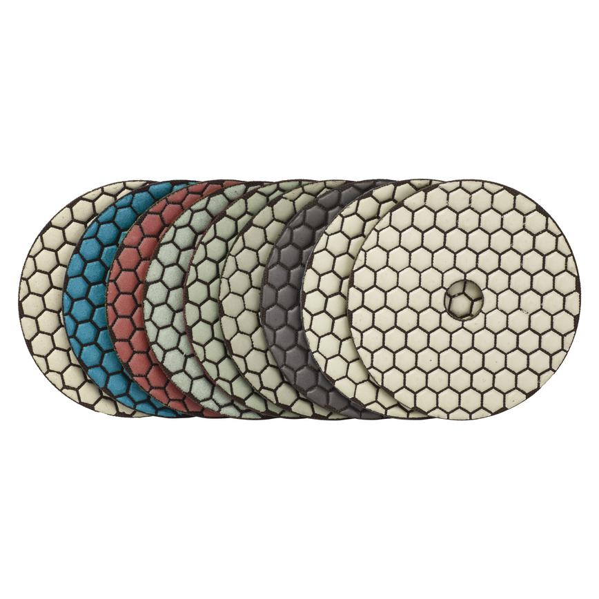 100mm Super Premium Dry Diamond Polishing Pads 9pc